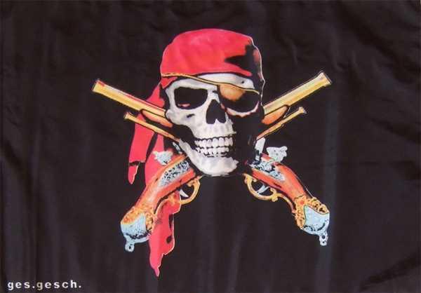 Pirat mit 2 Pistolen Flagge 90x150 cm,160 Dernier (G)