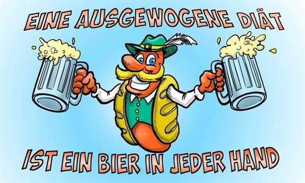 Bier eine ausgewogene Diät Flagge 90x150 cm