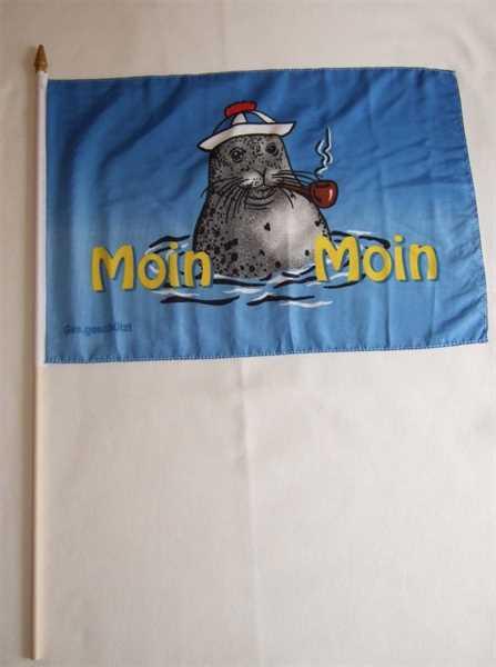 Moin Moin 2 Seehund mit Mütze und Pfeife Stockflagge 30x45 cm