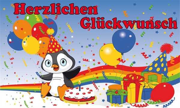 Geburtstag Herzlichen Glückwunsch zum Geburtstag Pinguin Flagge 90x150 cm