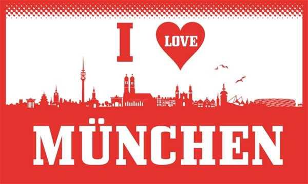 München I Love München Flagge 90x150 cm