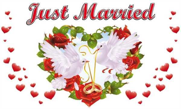Hochzeit Just Married 4 Flagge 90x150 cm