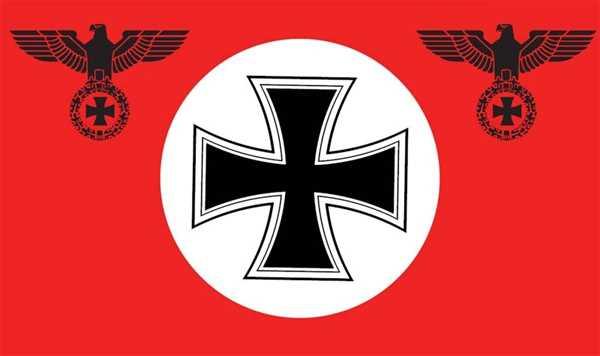 DR- Deutschland Rot mit Kreis und eisernem Kreuz Flagge 90x150 cm