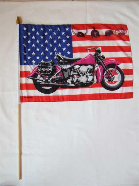 USA mit Motorrad pink Stockflagge 30x45 cm,160 Dernier Abverkauf