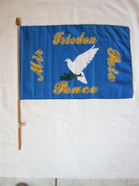 Friedenstaube mit grünem Zweig Stockflagge 30x45 cm,160 Dernier (G)