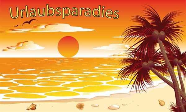 Urlaubsparadies Urlaub Ferien Palmen Strand Flagge 90x150 cm