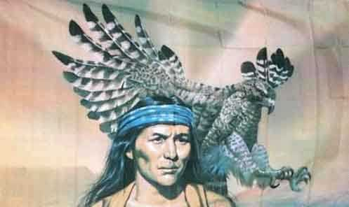 Indianer mit Adler Flagge 90x150 cm