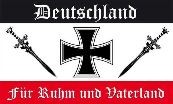 DR- Für Ruhm und Vaterland schwarz weiß rot Flagge 90x150 cm