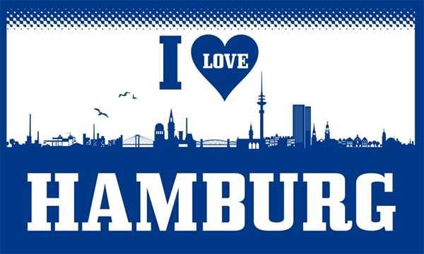 Hamburg I Love Hamburg Flagge 90x150 cm