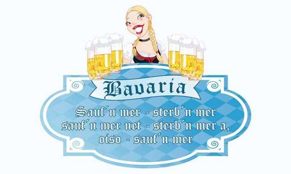 Bier - Bavaria Oktoberfest Trinkspruch mit Frau Flagge 90x150 cm