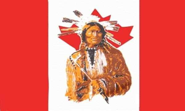Kanada mit Indianer Flagge 90x150 cm