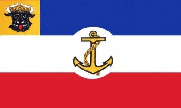 Mecklenburg-Dienstflagge auf Binnengewässern Flagge 90x150 cm