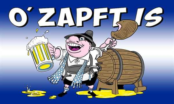 Oktoberfest- Ozapft Is Flagge 90x150 cm