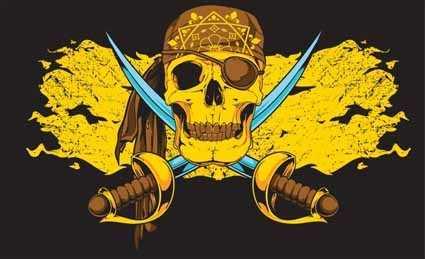Pirat gold Flagge 90x150 cm