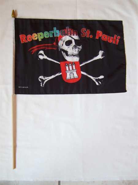 Pirat St. Pauli Reeperbahn Stockflagge 30x45 cm,160 Dernier (G)Abverkauf