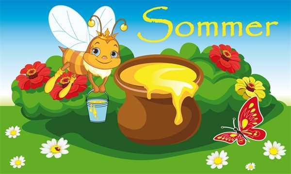 Sommer Biene mit Honigtopf Flagge 90x150 cm