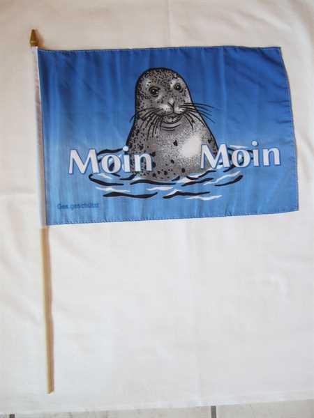 Moin Moin 1 Seehund Stockflagge 30x45 cm