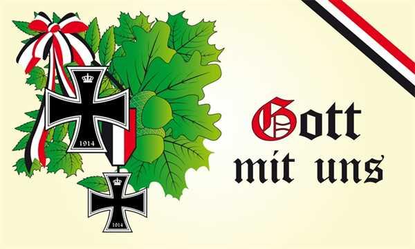 DR- Gott mit uns 3 Eichenlaub Flagge 90x150 cm