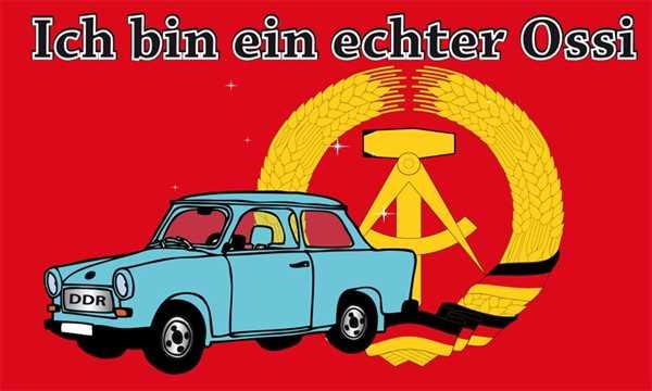DDR Ich bin ein echter Ossi, Trabbi Flagge 90x150 cm