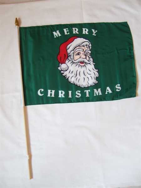 Weihnachten-Merry Christmas Weihnachtsmann Kopf Stockflagge 30x45 cm,160 Dernier (G)