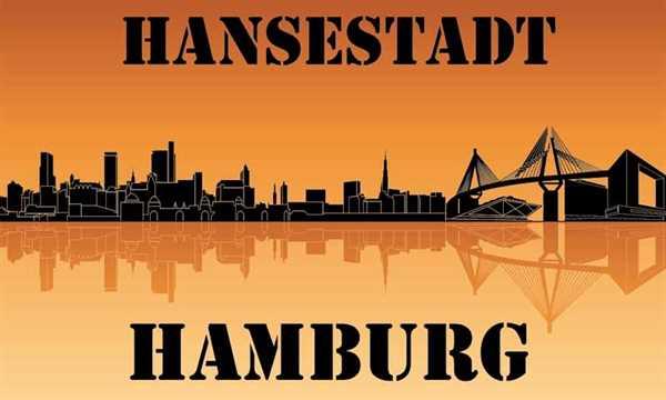 Hamburg Silhouette Flagge 90x150 cm