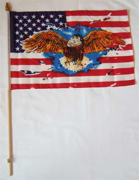 USA mit Adler Stockflagge 30x45 cm,160 Dernier (G)Abverkauf