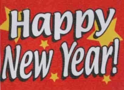 Neujahr, Happy New Year rot Flagge 90x150 cm