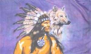 Indianer mit Wolf Flagge 90x150 cm