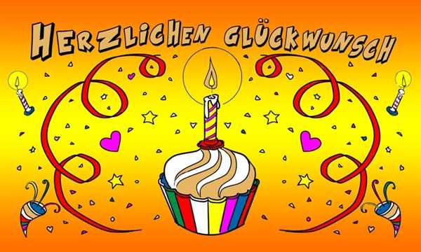 Geburtstag Herzlichen Glückwunsch mit einer Kerze Flagge 90x150 cm