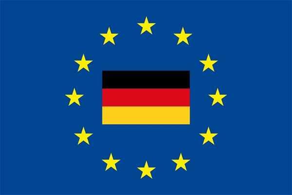 Europa - Deutschland in der Mitte Flagge 90x150 cm