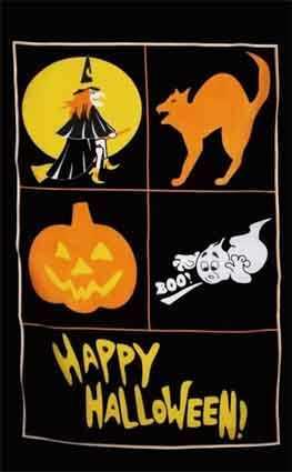 Halloween 1 (Hexe, Kater, Kürbis, Gespenst) Flagge 90x150 cm