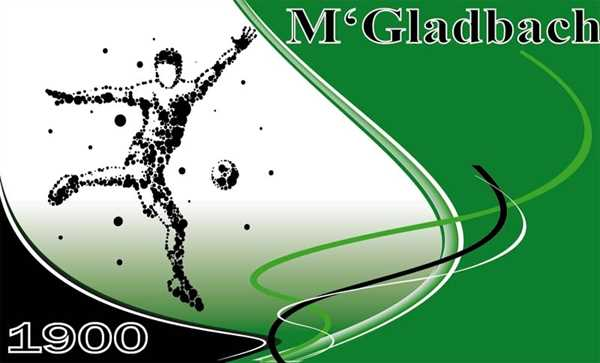 Mönchengladbach 1 Fußballspieler Flagge 90x150 cm