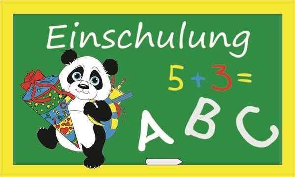 Schule-Einschulung Panda Flagge 90x150 cm