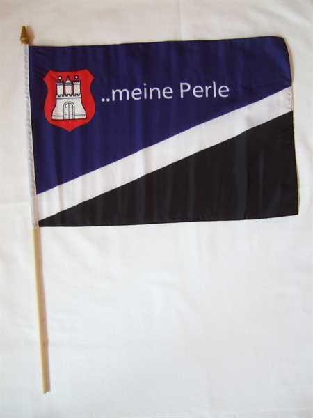 Hamburg meine Perle Stockflagge 30x45 cm,160 Dernier (G) Abverkauf