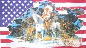 USA Indianer mit weißen Pferd im Schnee Flagge 90x150 cm