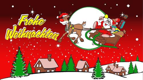Weihnachten-Frohe Weihnachten Rentier 2, rot Eigenkreation Flagge 90x150 cm