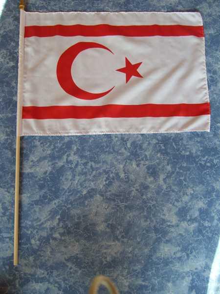 Nordzypern (Türkische Republik) Stockflagge 30x45 cm,160 Dernier (G)Abverkauf
